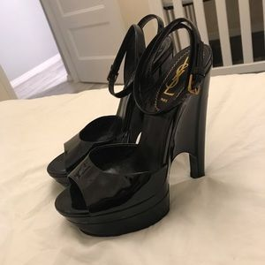 Saint Laurent black patent leather peep toe sandal